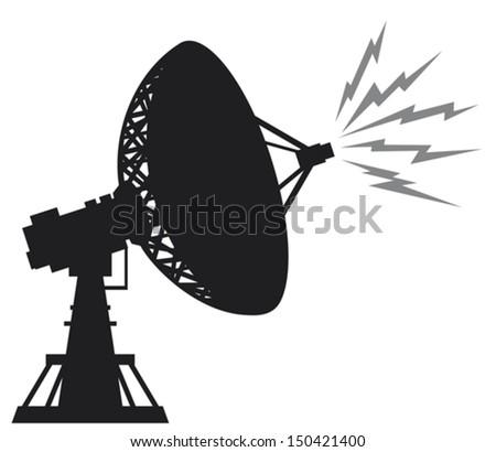 radar silhouette (satellite antenna, radar satellite dish, satellite dishes antenna, radar dish) - stock vector