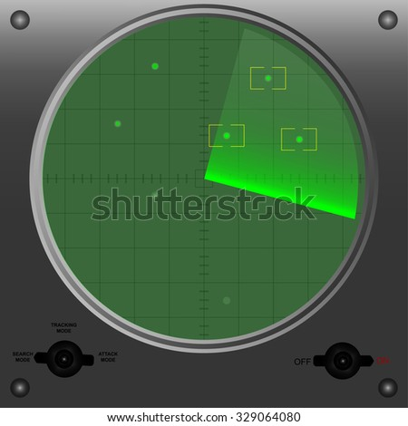 Radar vector illustration with targets. - stock vector