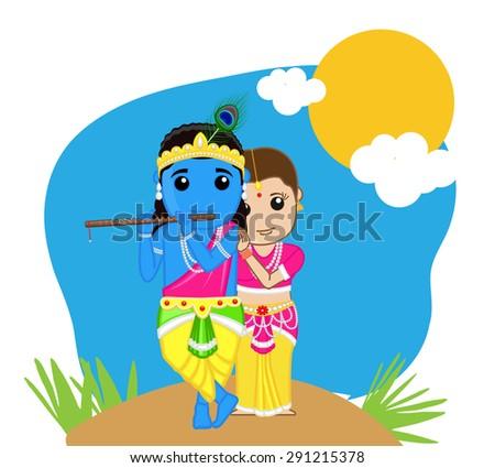 Radha and Krishna - Hindu Goddess - stock vector