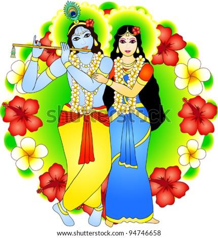 Radha and Krishna (vector image) - stock vector