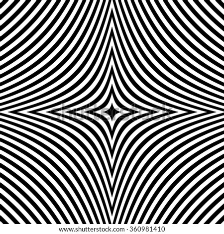 Radial black white lines with deformation. Abstract background.