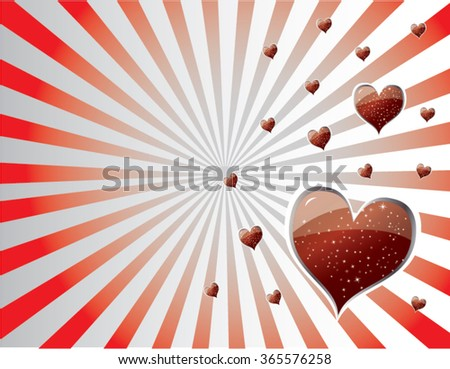 radial red hearts illustration - stock vector