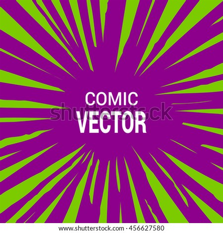 Radial speed lines. Explosion speed lines. Comic Book Design Element. Poster background in comic book style. Vector Illustration. Background with Space For Text (Vector).