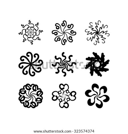 radial vector pattern floral monochrome 3 - stock vector