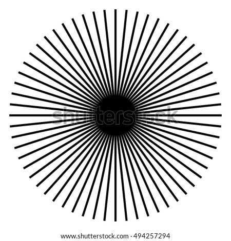 Radiating, radial lines. Starburst, sunburst shape. Converging ray, beam lines merging at center. Geometric circular element.