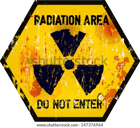 radiation area warning sign, grungy style - stock vector