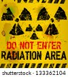 radiation area warning sign, vector illustration - stock vector