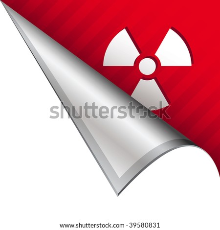 Radiation hazard icon on vector peeled corner tab suitable for use in print, on websites, or in advertising materials.