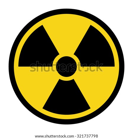 Radiation Hazard Sign. Symbol of radioactive threat alert. Black hazard emblem isolated in yellow circle on white background. Danger label. Warning icon. Stock Vector Illustration - stock vector