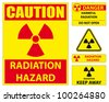Radiation hazard signs - stock photo