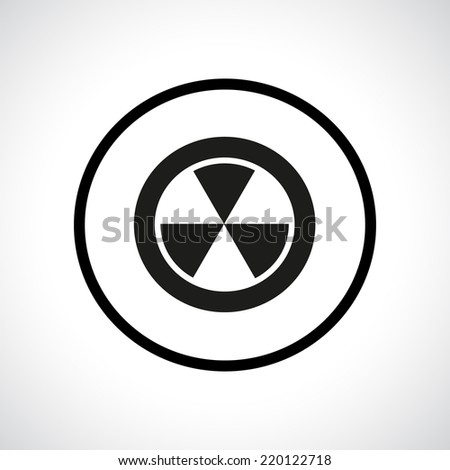 Radiation hazard symbol in a circle. Black flat icon. - stock vector