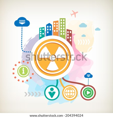 Radiation sign and city on abstract colorful watercolor background with different icon and elements. Flat design for the print, banner, web, advertising. - stock vector