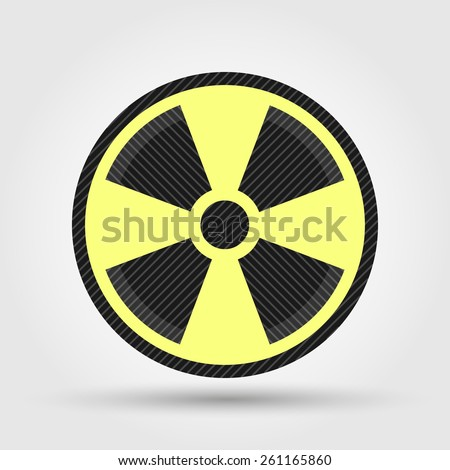 Radiation symbol isolated on grey background - stock vector