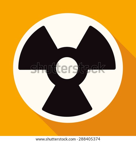 radiation symbol on white circle with a long shadow - stock vector
