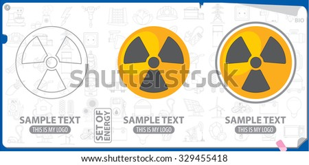 Radiation warning logo and symbol, outline, contour, stroke logo - stock vector