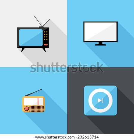 radio and TV icons. Flat design style modern vector illustration. Isolated on stylish color background. Flat long shadow icon. Elements in flat design. - stock vector
