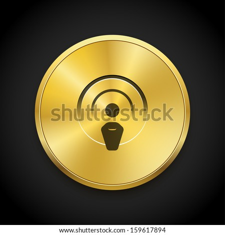 Radio broadcasting vector icon on golden button. Vector background.  - stock vector