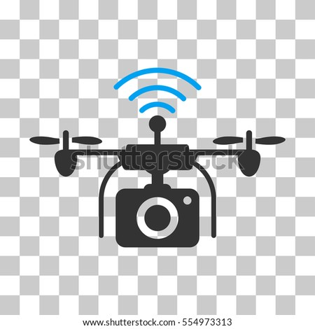 Radio Camera Drone Vector Icon Illustration Style Is Flat Iconic Bicolor Blue And Gray Symbol