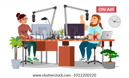 Radio DJ Man And Woman Vector. Broadcasting. Modern Radio Station Studio. Speak Into The Microphone. On Air. Broadcasting. Isolated Flat Cartoon Illustration