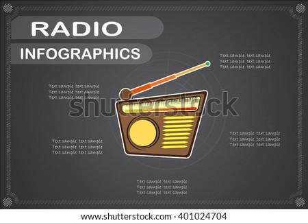 radio  infographics, Vector illustration. - stock vector