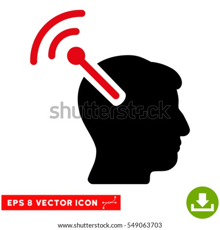 Radio Neural Interface EPS vector pictogram. Illustration style is flat iconic bicolor intensive red and black symbol on white background.