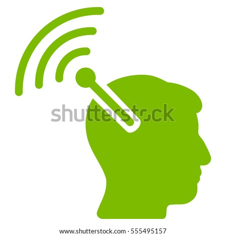 Radio Neural Interface vector pictogram. Style is flat graphic symbol, eco green color, white background.