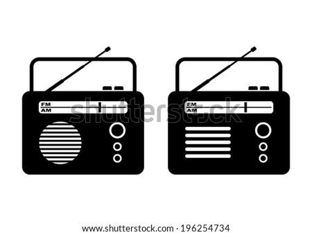 Radio on white background - stock vector