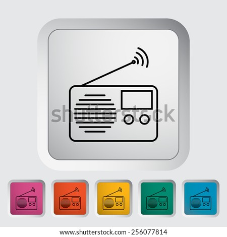 Radio. Outline icon on the button. Vector illustration. - stock vector