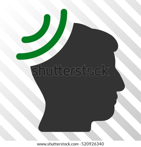 Radio Reception Brain vector pictogram. Illustration style is flat iconic bicolor green and gray symbol on a hatch transparent background.