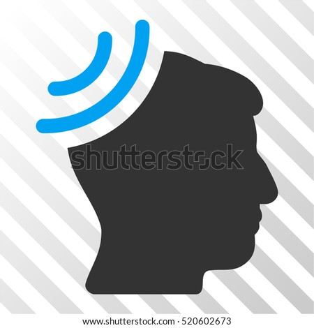 Radio Reception Brain vector pictograph. Illustration style is flat iconic bicolor blue and gray symbol on a hatch transparent background.