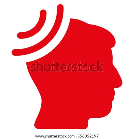 Radio Reception Brain vector pictograph. Style is flat graphic symbol, red color, white background.