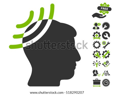 Radio Reception Head pictograph with bonus tools pictograms. Vector illustration style is flat iconic eco green and gray symbols on white background.