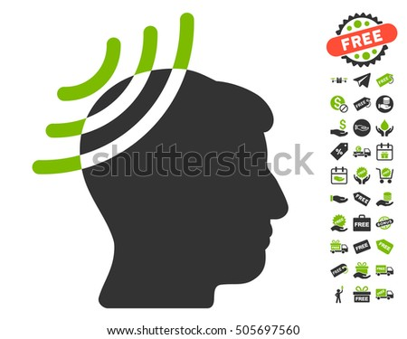 Radio Reception Head pictograph with free bonus design elements. Vector illustration style is flat iconic symbols, eco green and gray colors, white background.