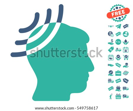 Radio Reception Head pictograph with free bonus pictograms. Vector illustration style is flat iconic symbols, cobalt and cyan colors, white background.