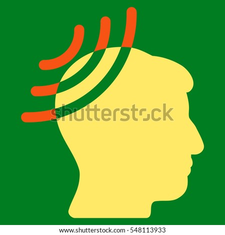 Radio Reception Head vector icon. Style is flat graphic bicolor symbol, orange and yellow colors, green background.