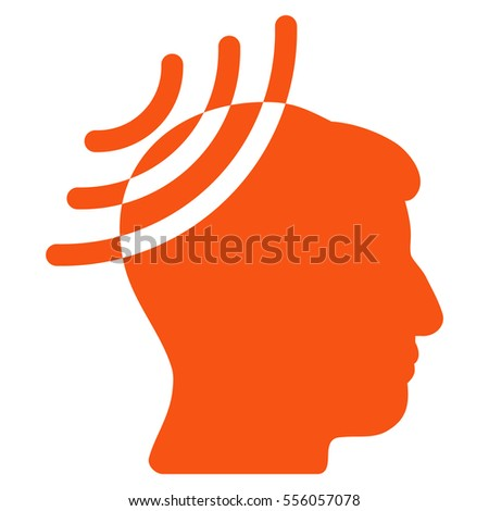 Radio Reception Head vector icon. Style is flat graphic symbol, orange color, white background.