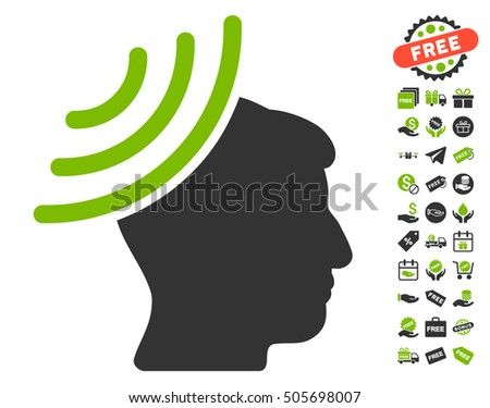 Radio Reception Mind icon with free bonus pictograms. Vector illustration style is flat iconic symbols, eco green and gray colors, white background.