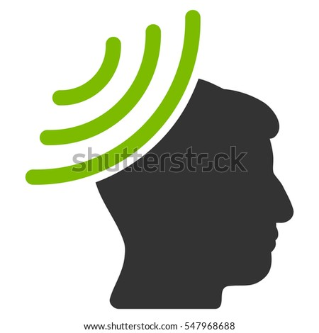 Radio Reception Mind vector icon. Style is flat graphic bicolor symbol, eco green and gray colors, white background.