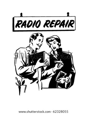 Radio Repair 2 - Ad Header - Retro Clipart