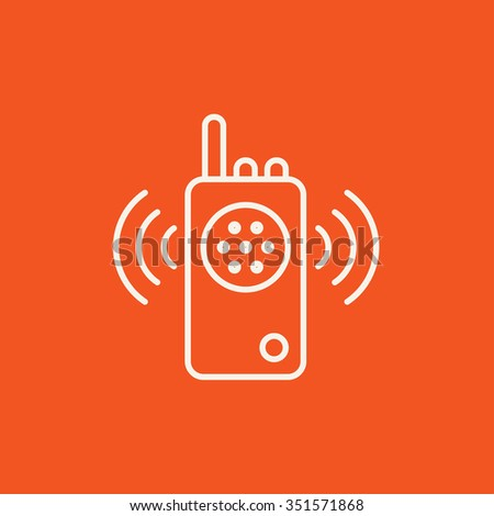 Radio set line icon for web, mobile and infographics. Vector white icon isolated on red background. - stock vector