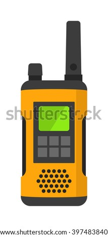 Radio set transceiver with antena receiver and police emergency radio set talkie tool.Walkie-talkie radio electronic system. Portable radio set transceiver wave mobile security technology vector - stock vector