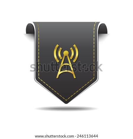 Radio Signal golden Vector Icon Design - stock vector