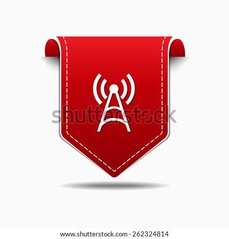 Radio Signal Red Vector Icon Design - stock vector