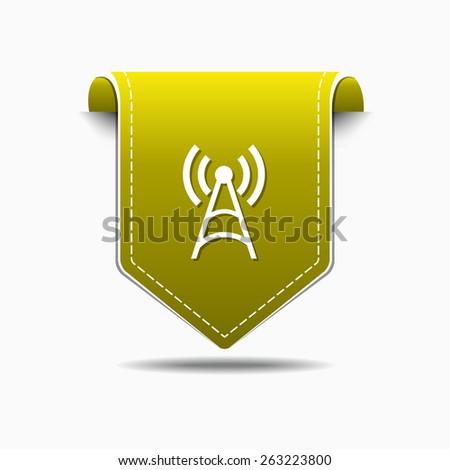 Radio Signal Yellow Vector Icon Design - stock vector