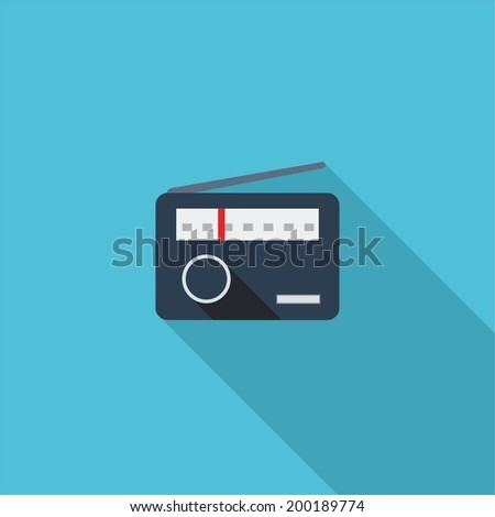Radio symbol. Vector illustration of flat color icon with long shadow.   - stock vector