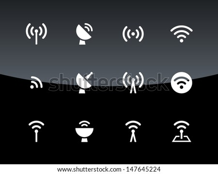 Radio Tower icons on black background. Wireless technology. Vector illustration. - stock vector