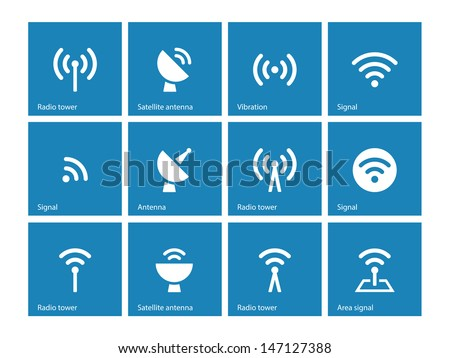 Radio Tower icons on blue background. Wireless technology. Vector illustration. - stock vector