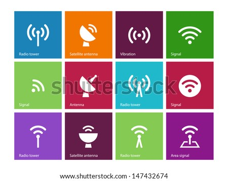 Radio Tower icons on color background. Wireless technology. Vector illustration. - stock vector