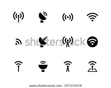 Radio Tower icons on white background. Wireless technology. Vector illustration. - stock vector