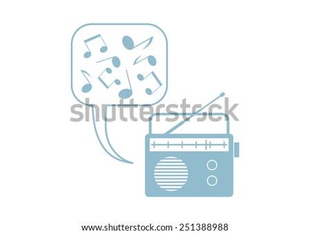 Radio vector icon on white background - stock vector